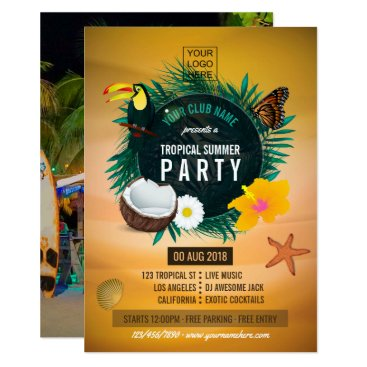 Club/Corporate Tropical Summer add photo and logo Card