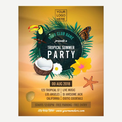 Club/Corporate Tropical Summer add photo and logo Flyer