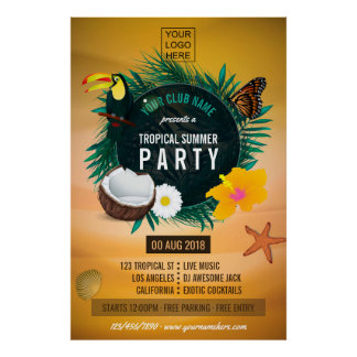 Club/Corporate Tropical Summer Party add logo Poster