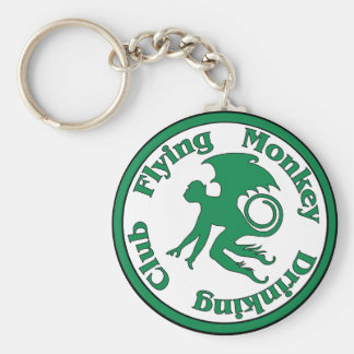 Club de consumición del mono del vuelo llavero redondo tipo pin