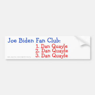 Club de fans de Joe Biden: Pegatina De Parachoque