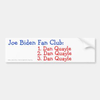 Club de fans de Joe Biden Pegatina De Parachoque