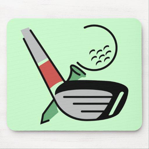 Club de golf, bola, y camisetas y regalos de la ca tapetes de ratón