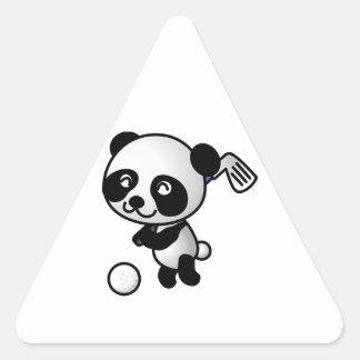 Club de golf de balanceo feliz lindo del oso de pegatina de triangulo