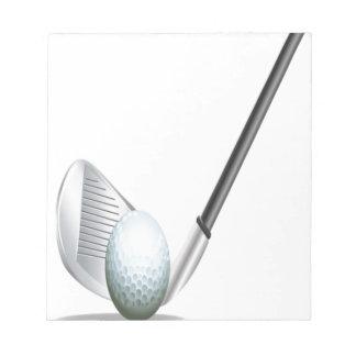 Club de golf y diseño de la pelota de golf blocs de notas