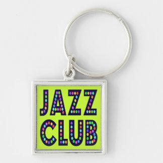 Club de jazz llavero cuadrado plateado