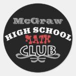 Club de la High School secundaria - matemáticas Pegatina Redonda