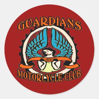 Club de la motocicleta de los guardas pegatina redonda