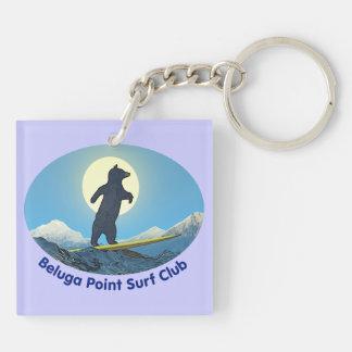 Club de la resaca del punto de la beluga llavero cuadrado acrílico a doble cara