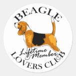 Club de los amantes del beagle etiqueta redonda