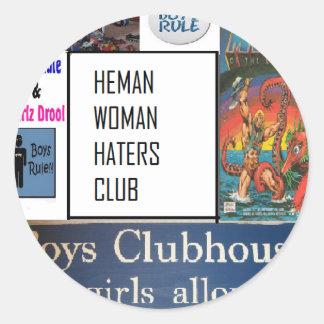 club de los enemigos de mujer del heman pegatina redonda