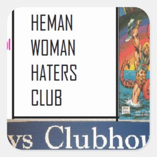 club de los enemigos de mujer del heman calcomanía cuadradas personalizada