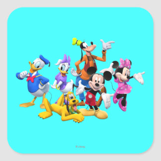 Club de Mickey Mouse Pegatina Cuadrada