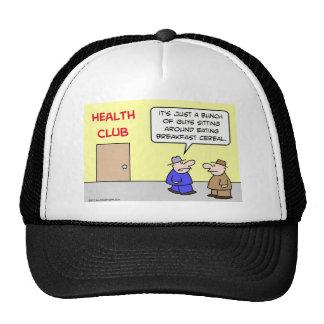 club de salud que come el cereal de desayuno gorras