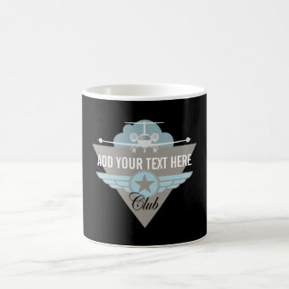 Club del ala del aeroplano del jet taza de café