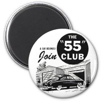 Club del auto retro '55 del vintage imán redondo 5 cm