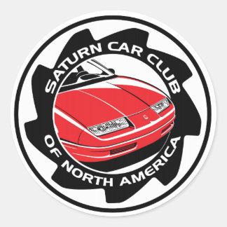 "Club del coche de Saturn de Norteamérica 3"" Pegatina Redonda"