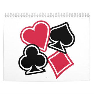Club del diamante de la espada del corazón del pók calendario de pared