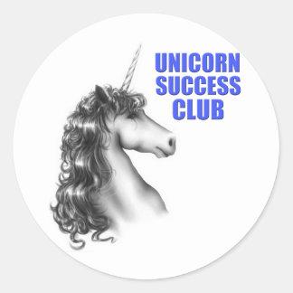 Club del éxito del unicornio etiqueta redonda