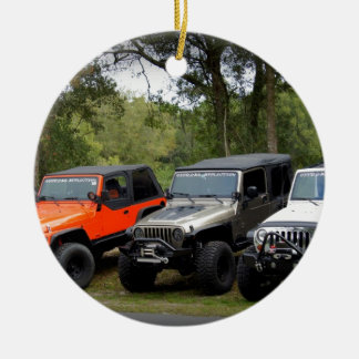 Club del jeep adorno navideño redondo de cerámica