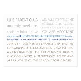 Club del padre de LJHS Tarjetas De Visita