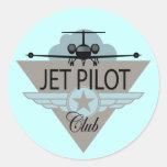 Club del piloto de jet etiqueta redonda