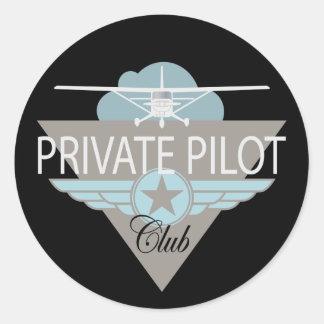 Club del piloto privado etiqueta redonda