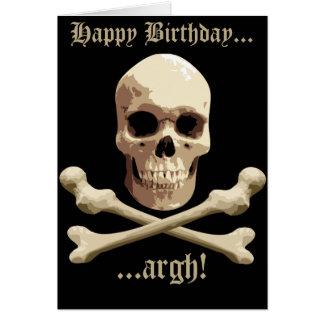 Club del pirata - cráneo y bandera pirata tarjeta de felicitación