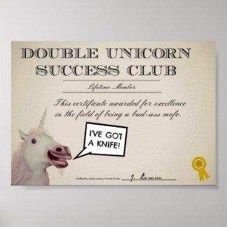 Club doble del éxito del unicornio póster