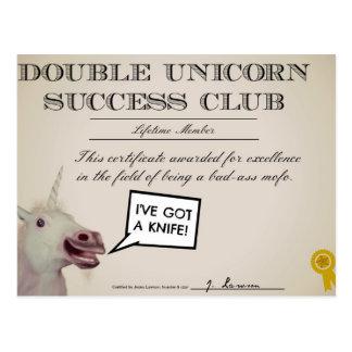 Club doble del éxito del unicornio tarjeta postal