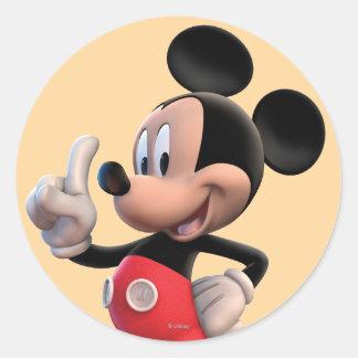 Club el   de Mickey Mouse que señala Pegatina Redonda