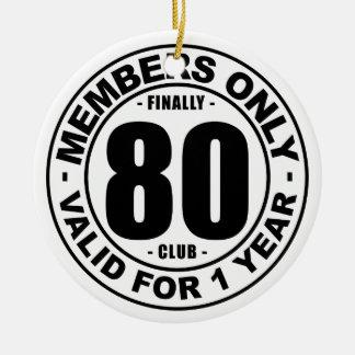Club finalmente 80 adorno navideño redondo de cerámica