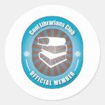 Club fresco de los bibliotecarios etiqueta redonda