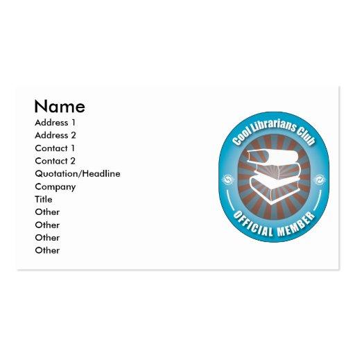 Club fresco de los bibliotecarios tarjetas de visita