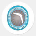 Club fresco de los lanzadores del bumerán etiqueta redonda
