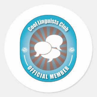 Club fresco de los lingüistas pegatina redonda