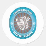 Club fresco de los soldadores pegatina redonda