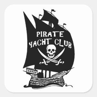 Club náutico del pirata calcomanias cuadradas