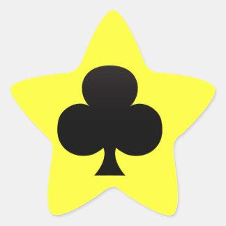 Club negro - juego de tarjetas de juego pegatina en forma de estrella