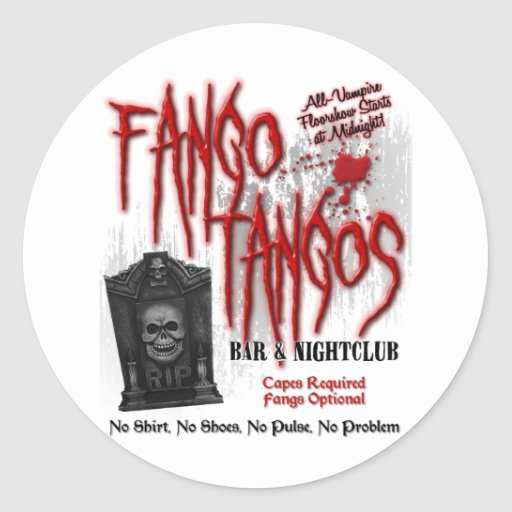 Club nocturno del vampiro de los tangos de Fango Pegatinas Redondas