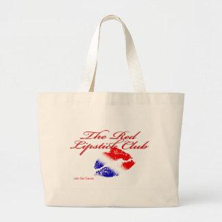 Club rojo del lápiz labial bolsa tela grande