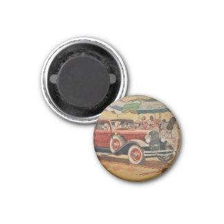 Club Sedan at Beach 1 Inch Round Magnet