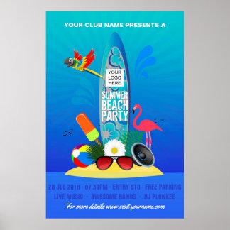 Club Summer Beach Party add logo advertisement Poster
