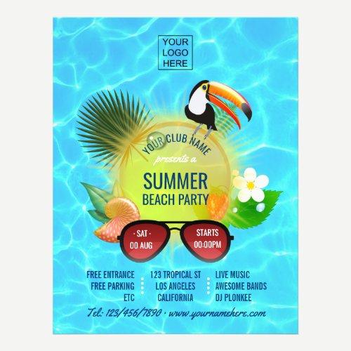 Club Summer Beach Party custom add photo and logo Flyer