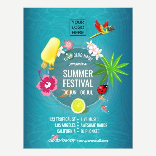 Club Summer Festival custom add photo and logo Flyer