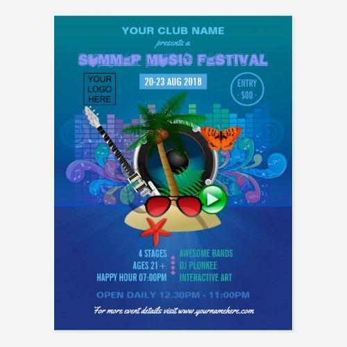 Club Summer Music Festival add logo advertisement Postcard
