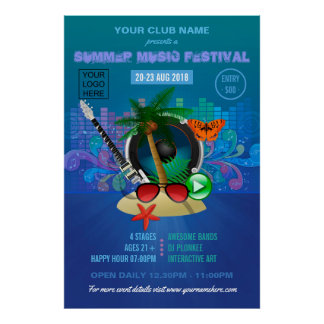 Club Summer Music Festival add logo advertisement Poster
