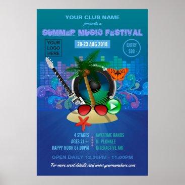Beach Themed Club Summer Music Festival add logo advertisement Poster
