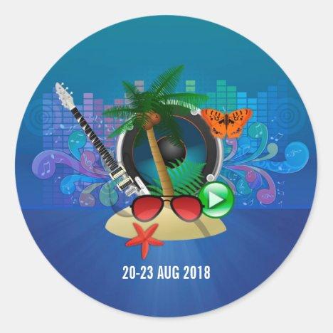 Club Summer Music Festival Classic Round Sticker