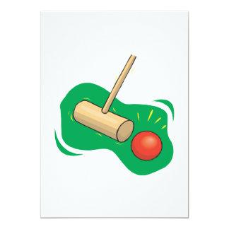 """Club y bola del croquet invitación 5"""" x 7"""""""